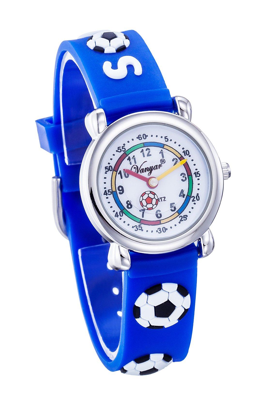 Vanyar Kids Soccer Time Teacher Quartz Wrist Watch Rubble Band Blue