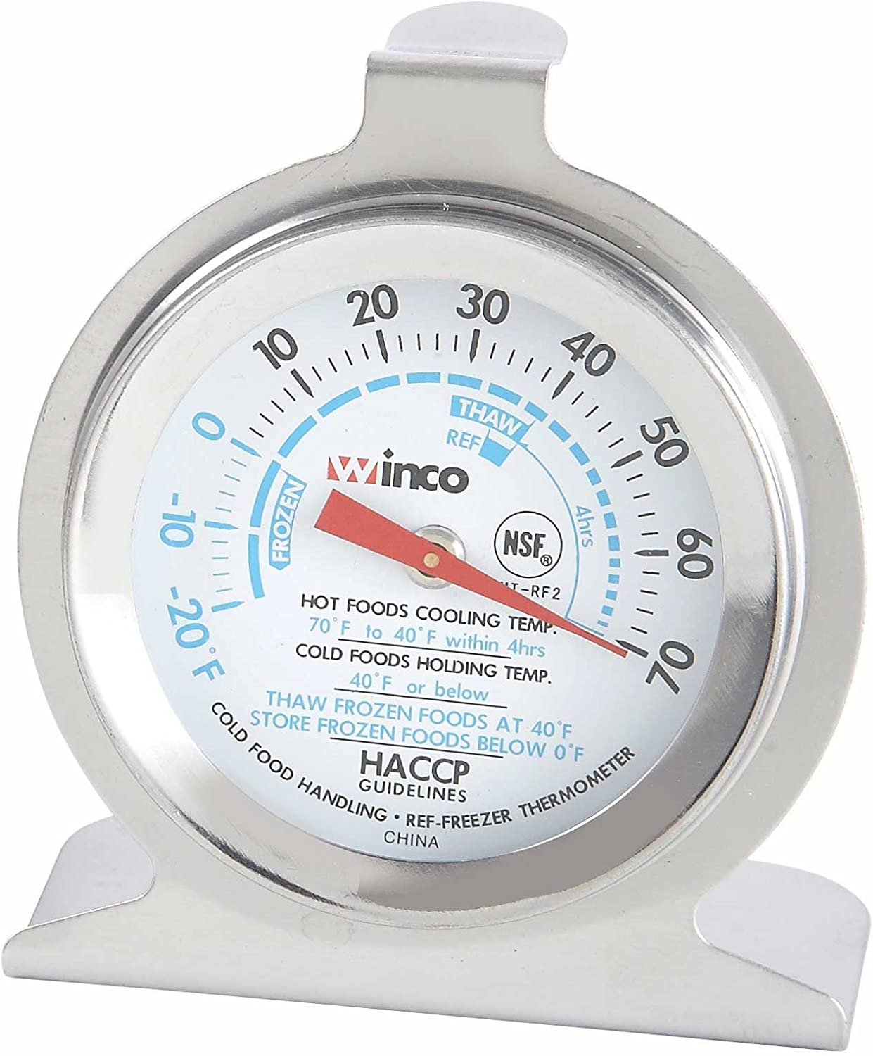 Winco Dial Refrigerator/Freezer Thermometer with Hook and Panel Base, 2-Inch