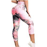 Johtae Leggins de levantamiento de glúteos, para mujer, Tie Dye Yoga Capri 3/4, pantalones de levantamiento de glúteos…