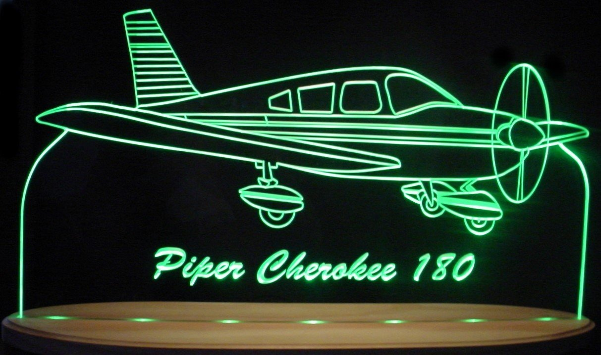 Piper Cheroke 180 Airplane Acrylic Lighted Edge Lit Awesome 21'' LED Plane Sign Light Up Plaque VVD14 Full Size Made in USA by ValleyDesignsND