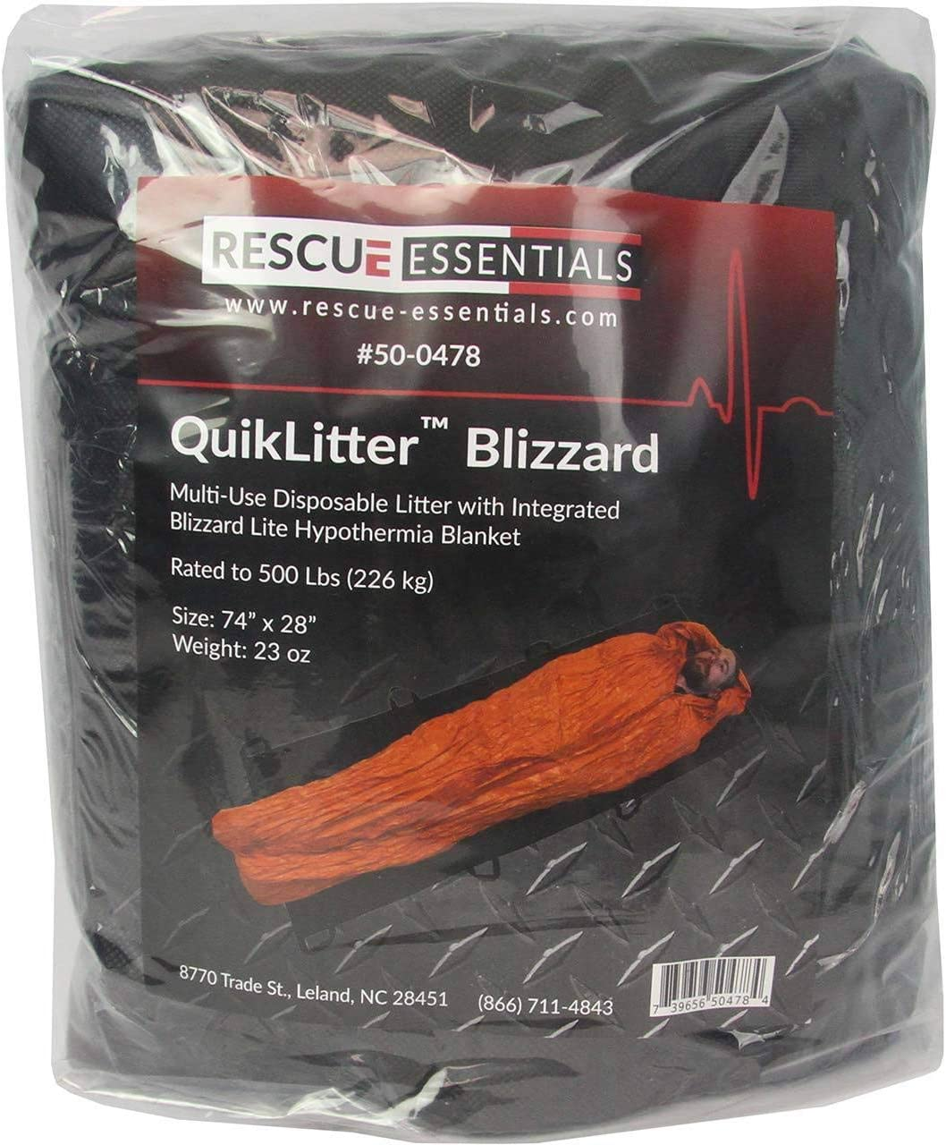 Rescue Essentials Brand QuikLitter Blizzard with 2 Layer Blizzard Blanket for Casualty Evacuation 500 Lb Rated Black
