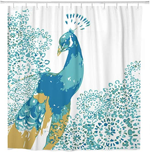 Colorful Printed Bathroom Shower Curtain Set Waterproof Polyester Fabric w//Hooks
