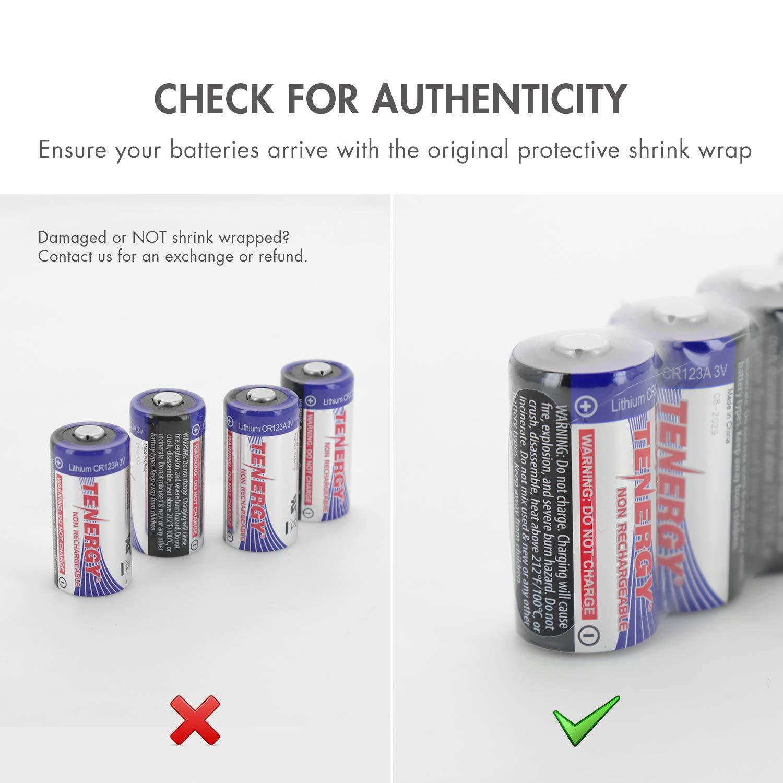 Tenergy 1500mAh 3V CR123A Batería de litio, baterías de celda CR123A de alto rendimiento con protección PTC para cámaras, baterías CR123A de repuesto para sensores inteligentes, paquete de 40 (no recargables)
