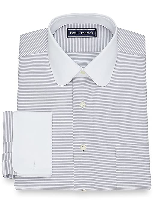 1920s Style Mens Shirts | Peaky Blinders Shirts and Collars Paul Fredrick Mens Cotton Horizontal Stripe Dress Shirt $84.50 AT vintagedancer.com