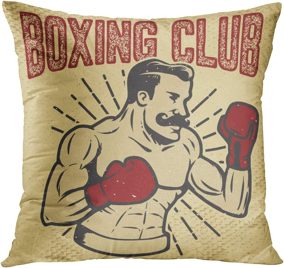 Amazon.com: TOMKEYS Throw Pillow Cover Fashioned Boxing Club Vintage Style Boxer on Grunge Design for Old Gentleman Decorative Pillow Case Home Decor Square 18x18 Inches Pillowcase: Home & Kitchen