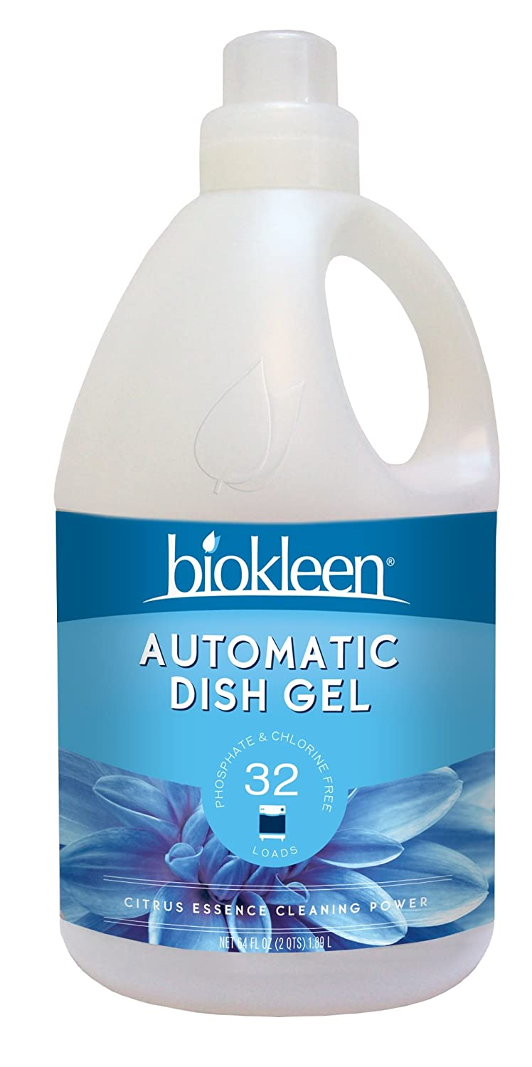 Biokleen Automatic Dishwashing Liquid Detergent Gel, Concentrated, Phosphate & Chlorine Free, Eco-Friendly, Non-Toxic, No Artificial Fragrance, Colors or Preservatives, Citrus Essence, 64 Ounces