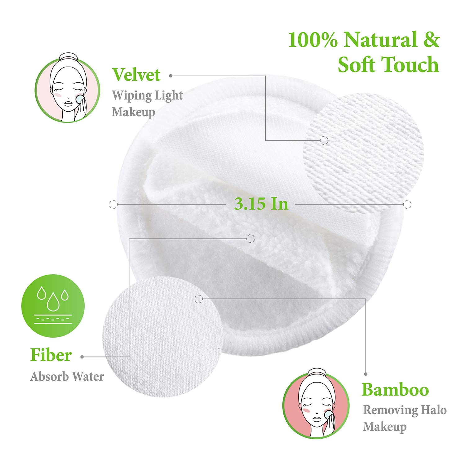 Eye Makeup Remover Pads, Reusable Cotton Pads Face Cleansing Wipes Organic Bamboo Velvet Toner Pads with Laundry Bag