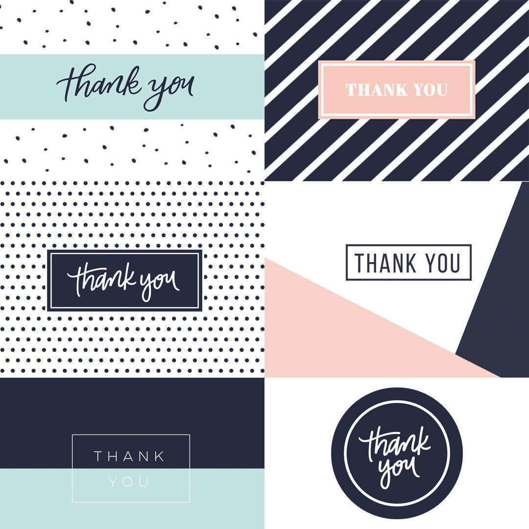 35 Thank You Cards - 5 Unique Designs - Thank You Notes with Envelopes and Sealing Stickers, Greeting Cards Assortment Great for Baby Showers, Birthdays, Weddings, Business by Krafster