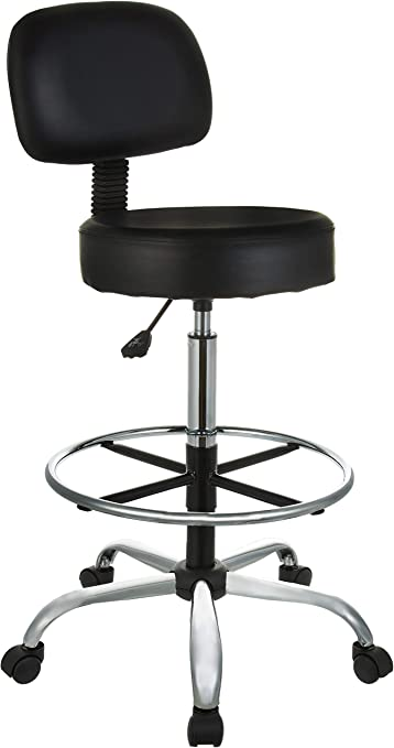 AmazonBasics Multi-Purpose Adjustable Drafting Spa Bar Stool (Renewed) - Best For Medical Use