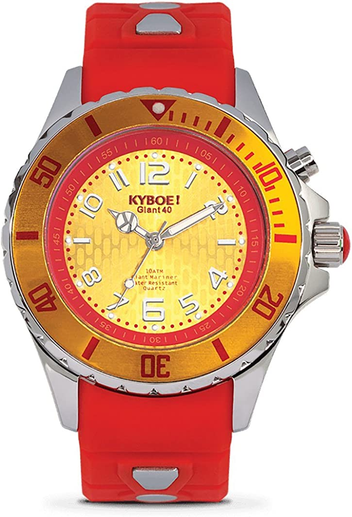 KYBOE Power Stainless Steel Quartz Watch with Silicone Strap, red, 20 Model KY.40-014.15
