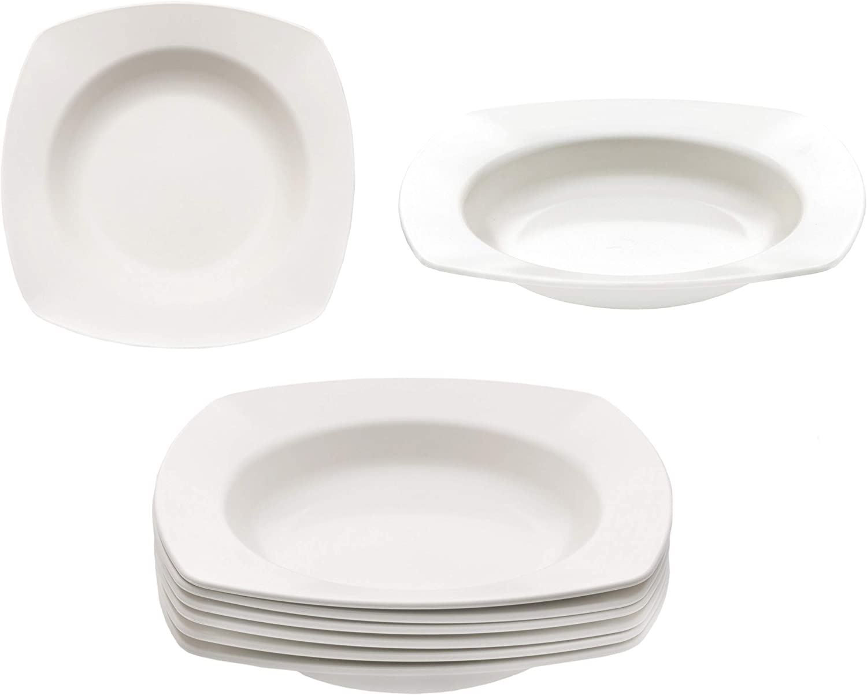 KM Living - Juego de platos hondos (plástico, reutilizables, 20 cm, sin BPA, aptos para lavavajillas y microondas), color blanco