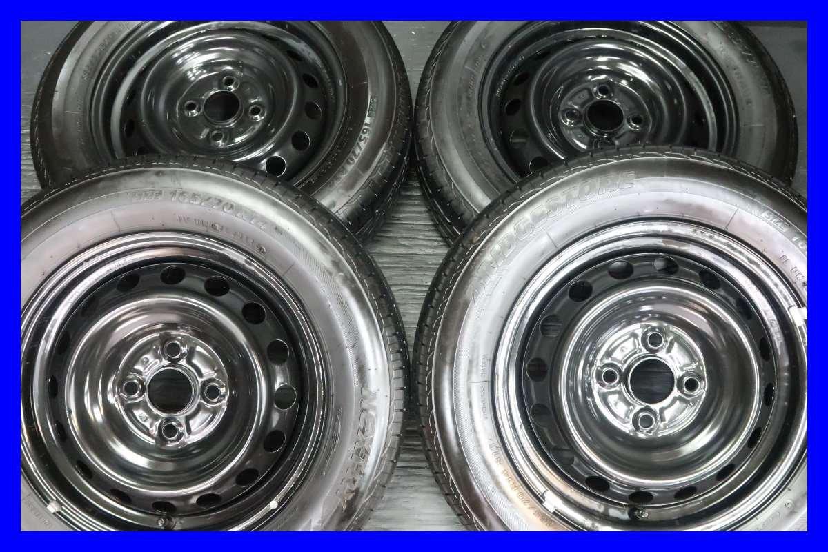 【中古タイヤ】【送料無料】4本セット ブリヂストン ネクストリー 165/70R14  /   トヨタ 14x5.0  100-4穴  ヴィッツに! サマータイヤ S14180528101 B07DJ9LFQX