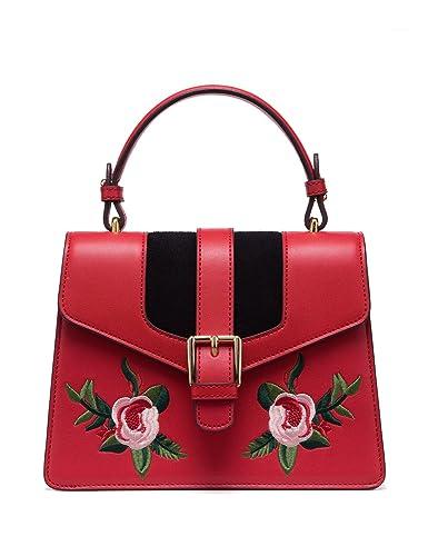 0bf609e18fbf  Flash Shipping LA FESTIN Red Leather Shoulder Purses Embroidered Retro Top  Handle Bags