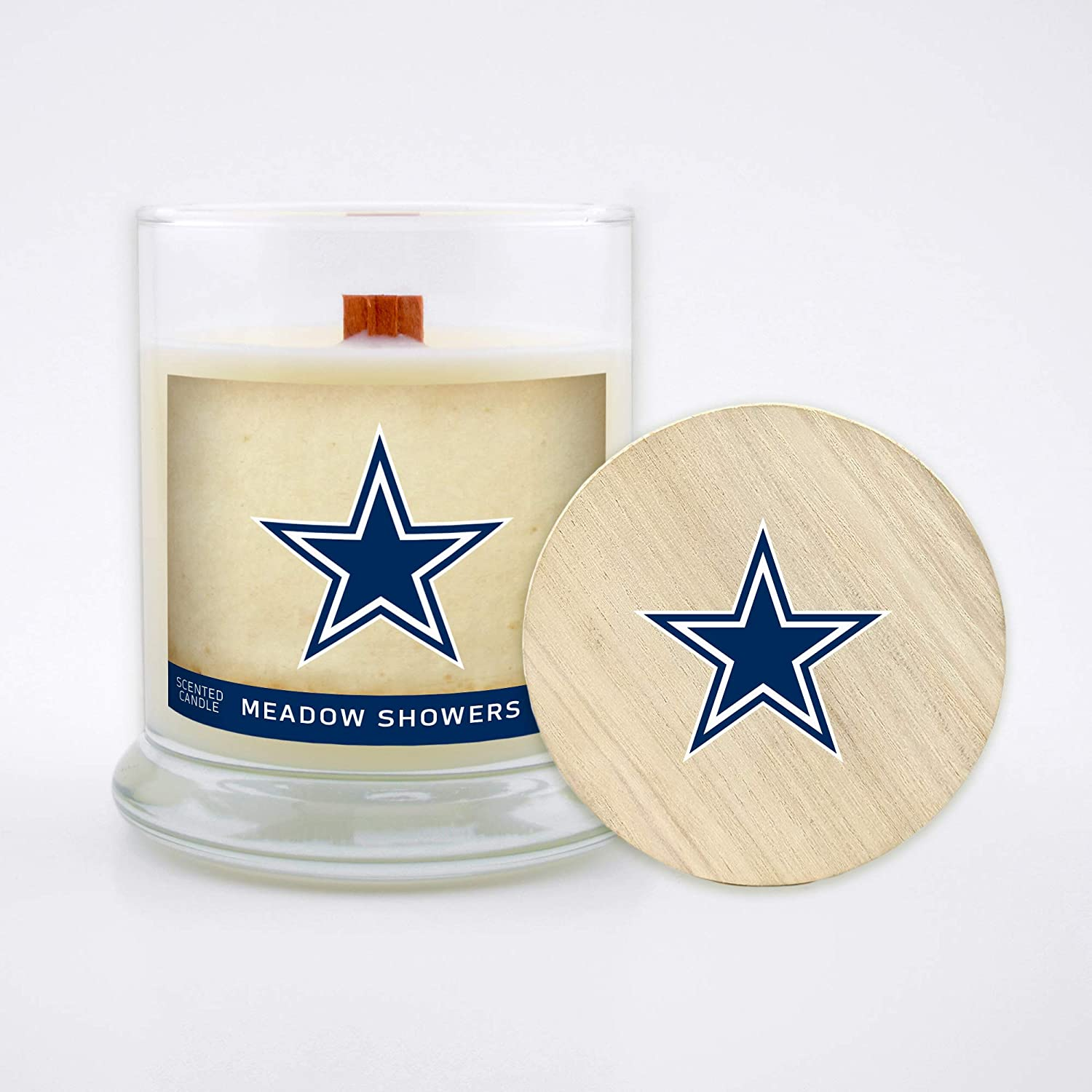 Worthy Promo NFL Dallas Cowboys Gifts 8oz Scented Candle Soy Wax w//Wood Wick and Lid Meadow Showers