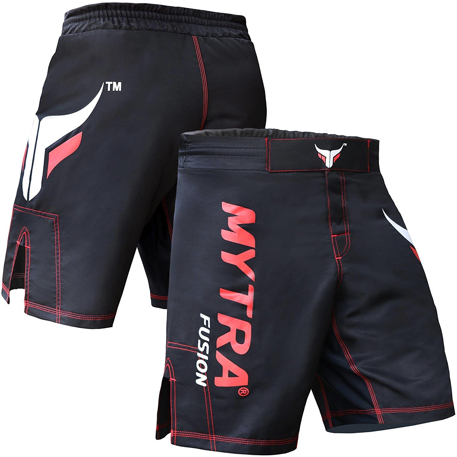 Mytra Fusion Black MMA Shorts Combat Shorts for Boxing MMA Muay Thai Gym Workout Bjj Thai Trunks Satin Shorts Mix Martial Arts Cage Fighting Grappling Sparring Training Punching Kick Boxing Shorts Farabi Sports