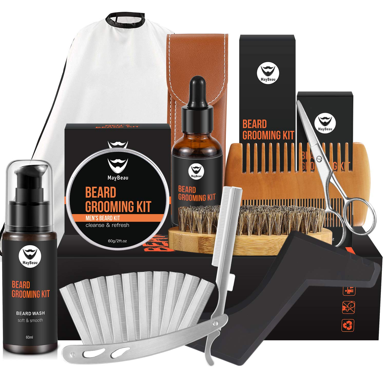 MayBeau 10 in 1 Beard Kit Beard Grooming Kit Beard Care for Men with Beard Balm Beard Oil Beard Shampoo Straight Razor