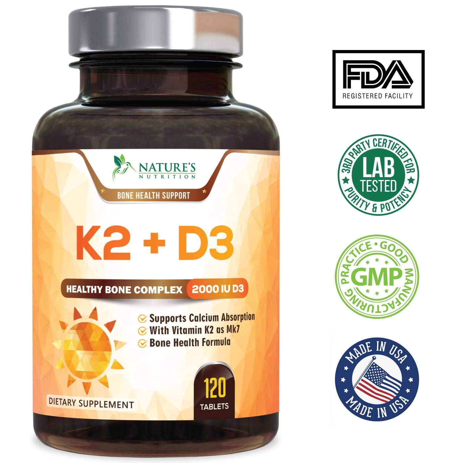 ... D3 Supplement - Vitamin D & K Complex for Calcium Absorption - Healthy Bone, Heart and Teeth Formula - MK-7, Non-GMO & Gluten Free by Natures Nutrition ...