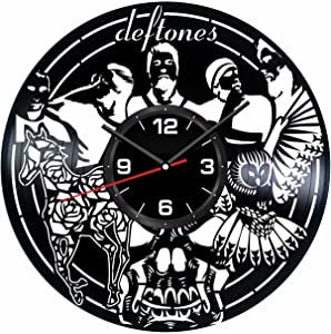 Deftones Wall Clock Made of Vintage Vinyl Records - Stylish Clock and Amazing Gift Idea – Unique Home Decor – Personalized Presents for Men Women Kids – Great for Living Room Bedroom Kitchen