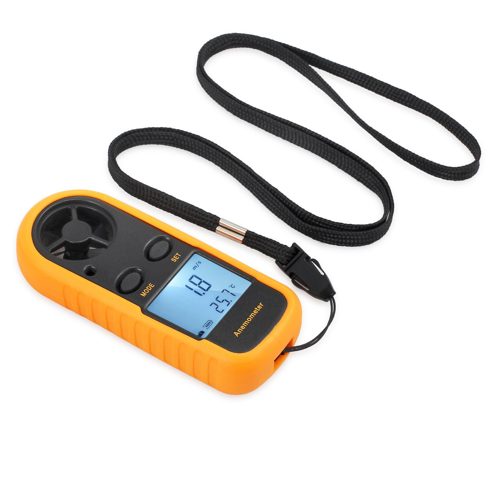 AUTOUTLET Digital Anemometer Handheld LCD Wind Speed Meter Gauge Air Flow Velocity Measurement Thermometer with Backlight for Sailing, Surfing, Hand-gliding, Shooting and Walking