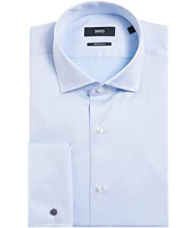d60a46e1b Hugo Boss Men's 'Gardner' Light Blue Regular Fit French Cuff Cotton Dress  Shirt 16