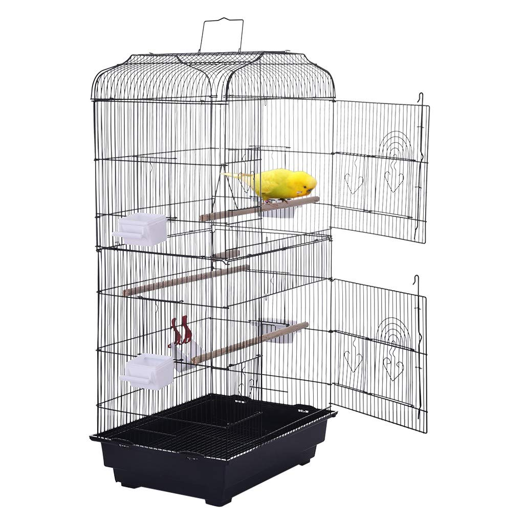 Homefami Portable Hanging Bird Cage Travel Bird Cage for Canary Budgies Small Parrots Cockatiels Sun Quaker Parakeets Green Cheek Parrotlets Finches Lovebirds by Homefami