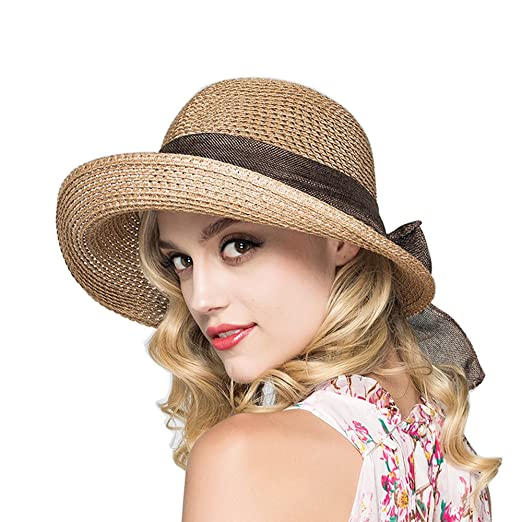19ab50d324dbf6 1920s Style Hats Kekolin Womens Straw Hat Floppy Foldable Roll up Beach Cap Sun  Hat $15.70