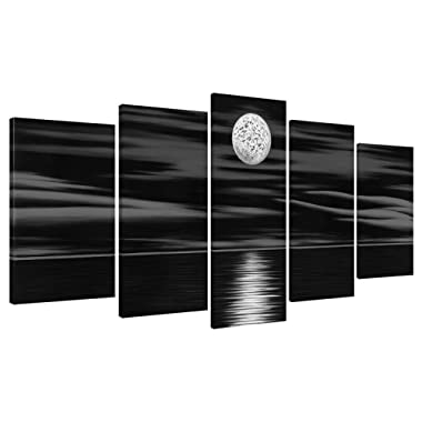 Generic Sea White Full Moon in Night 5 panels 100% Hand Painted Stretched and Framed Modern Abstract Seascape Artwork Contemporary Oil Paintings on Canvas Wall Art for Bedroom Home Decorations