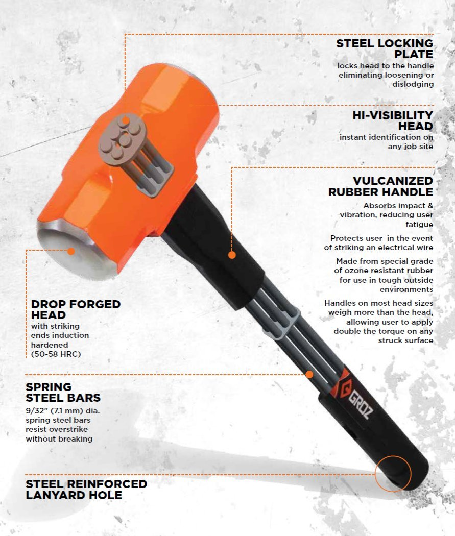 Groz 34500 Indestructible Handle Club Hammer with 2.5-Pound Head and 12-Inch Handle by Groz (Image #2)