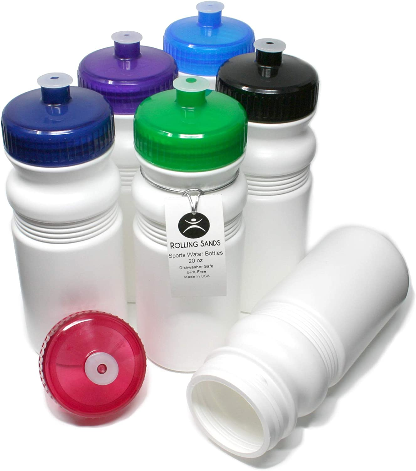 Rolling Sands 20 Ounce Sports Water Bottles 6 Pack, BPA-Free, Made in USA, Dishwasher Safe