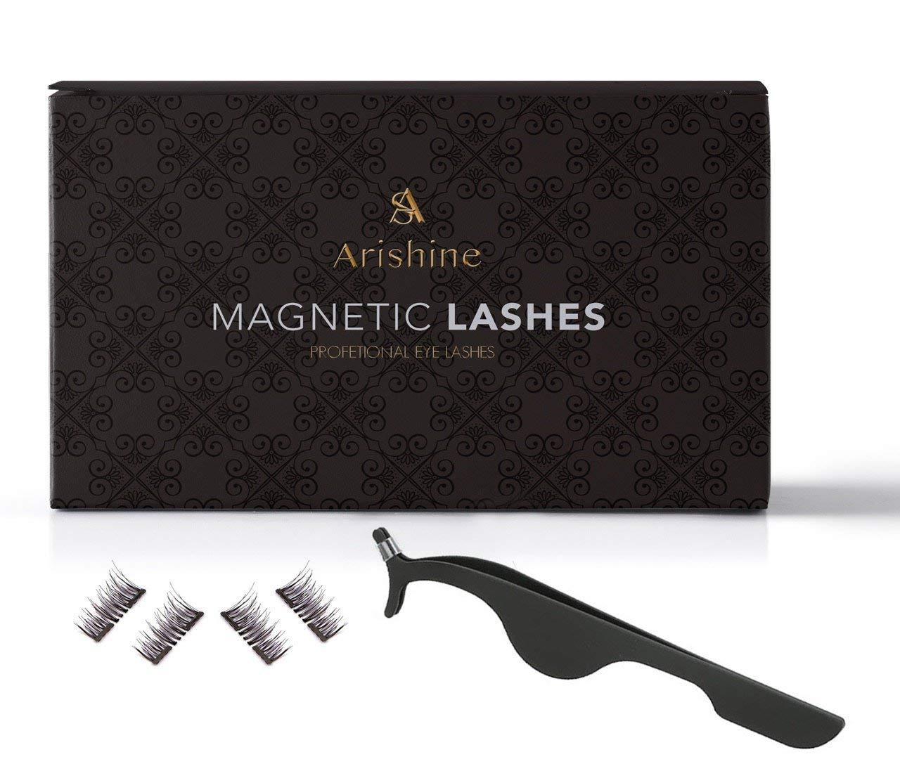 Arishine Magnetic Eyelashes [No Glue]- Long Dual False Magnetic Eyelashes -Ultra Thin 3D Fiber Reusable Magnetic Eyelashes