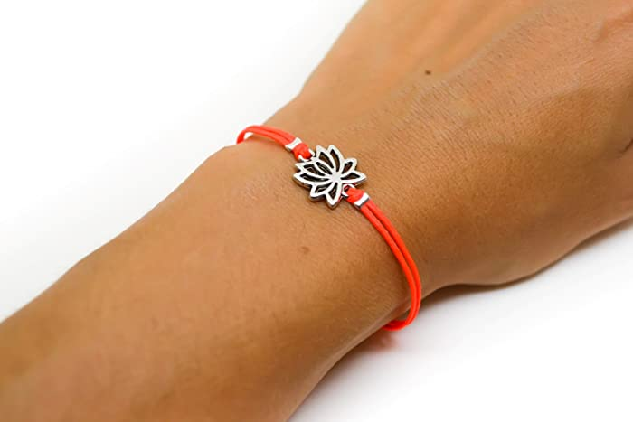 Amazon Lotus Bracelet Cord Bracelet With Silver Lotus Charm
