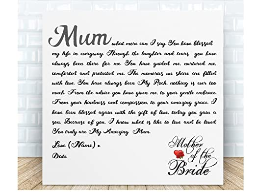 Personalised Mother Of The Bride Poem Plaque From Boxed Wedding Thank You