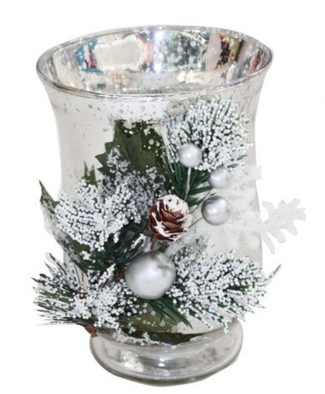 Ten Portacandela di Natale natalizio bicchiere argentato - cod. EL32031 - Lun.12, 2 cm - Lar.12, 2 cm - Alt.16, 7 cm - Ø12, 2 cm by Varotto & Co.