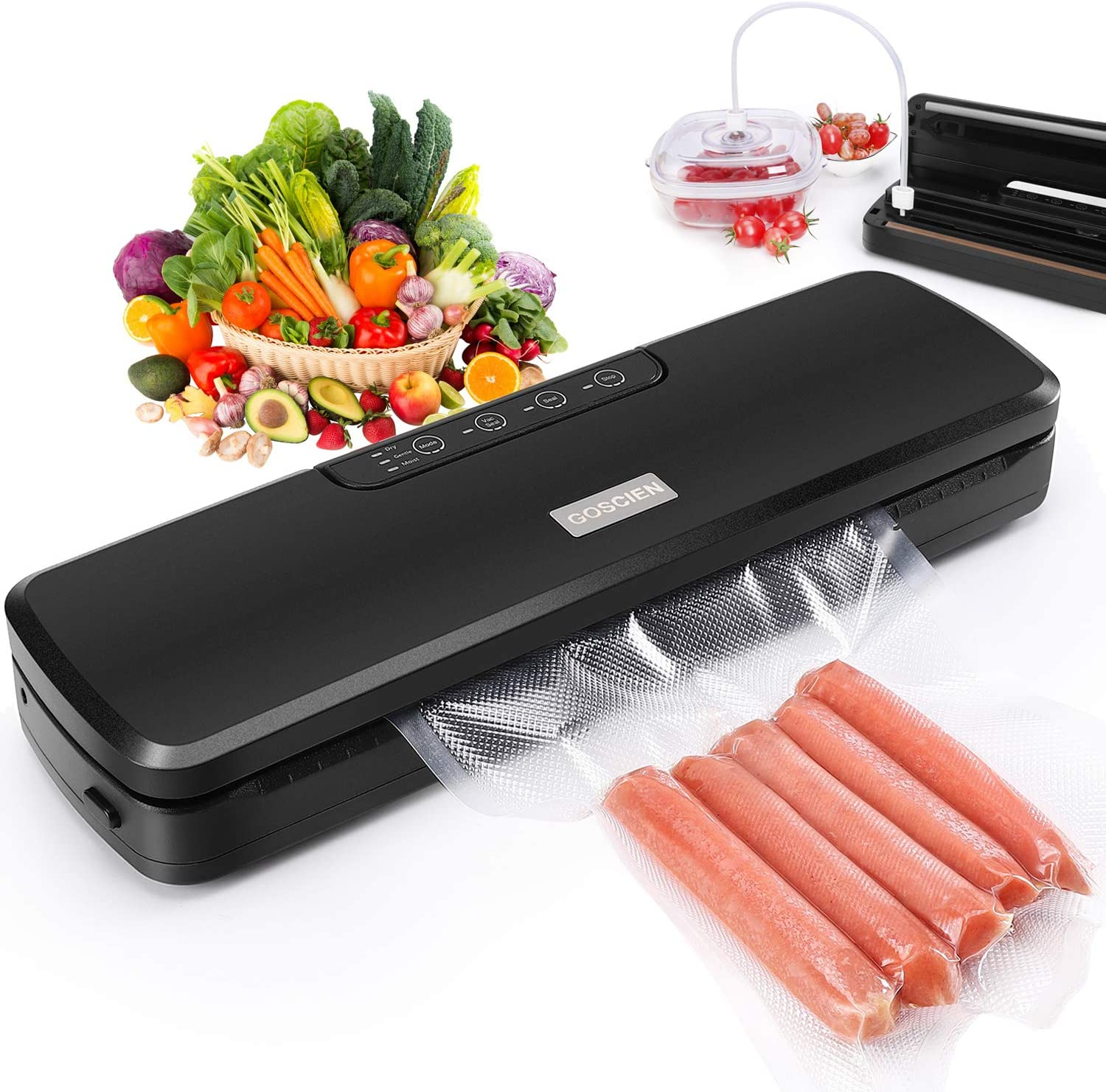Vacuum Sealer Machine, GOSCIEN Food Saver with Dry & Moist Modes, Includes Built-in Cutter, Water Groove and Bags, For Sous Vide and Food Storage