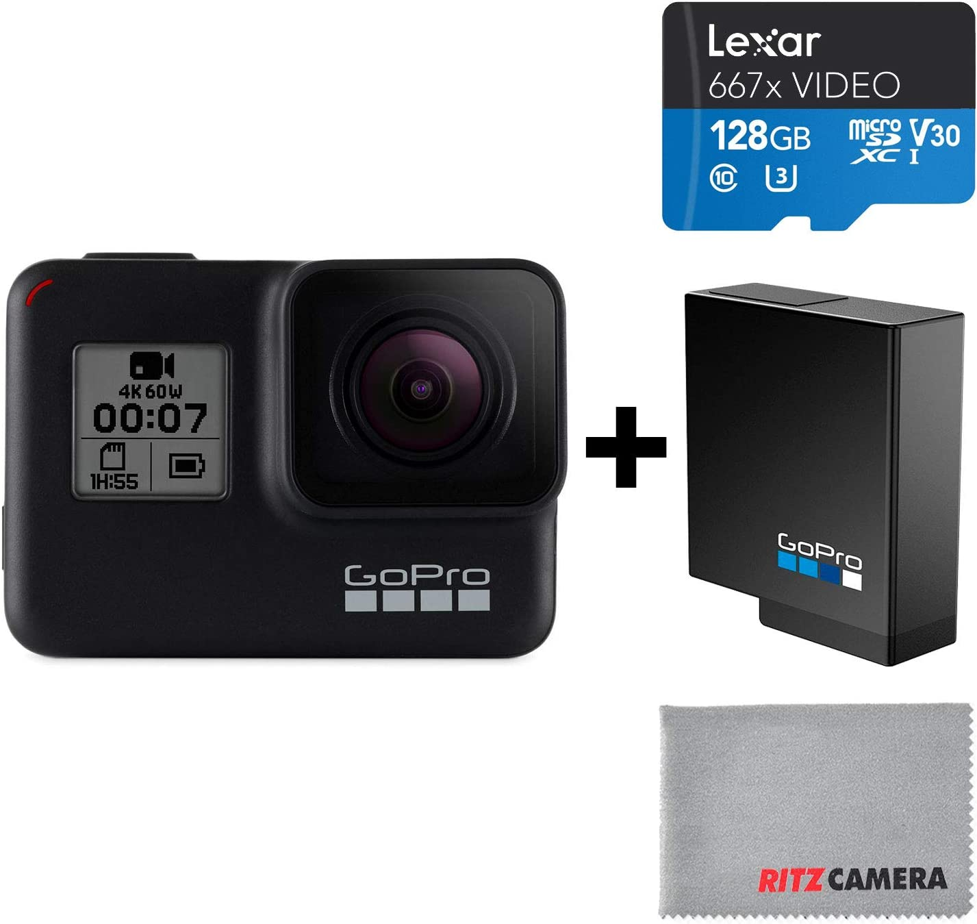 GoPro HERO7 Black Camera + Extra Rechargeable Battery + Lexar 128GB U3 microSDHC Card - Waterproof Digital Action Camera Touch Screen 4K HD Video 12MP ...