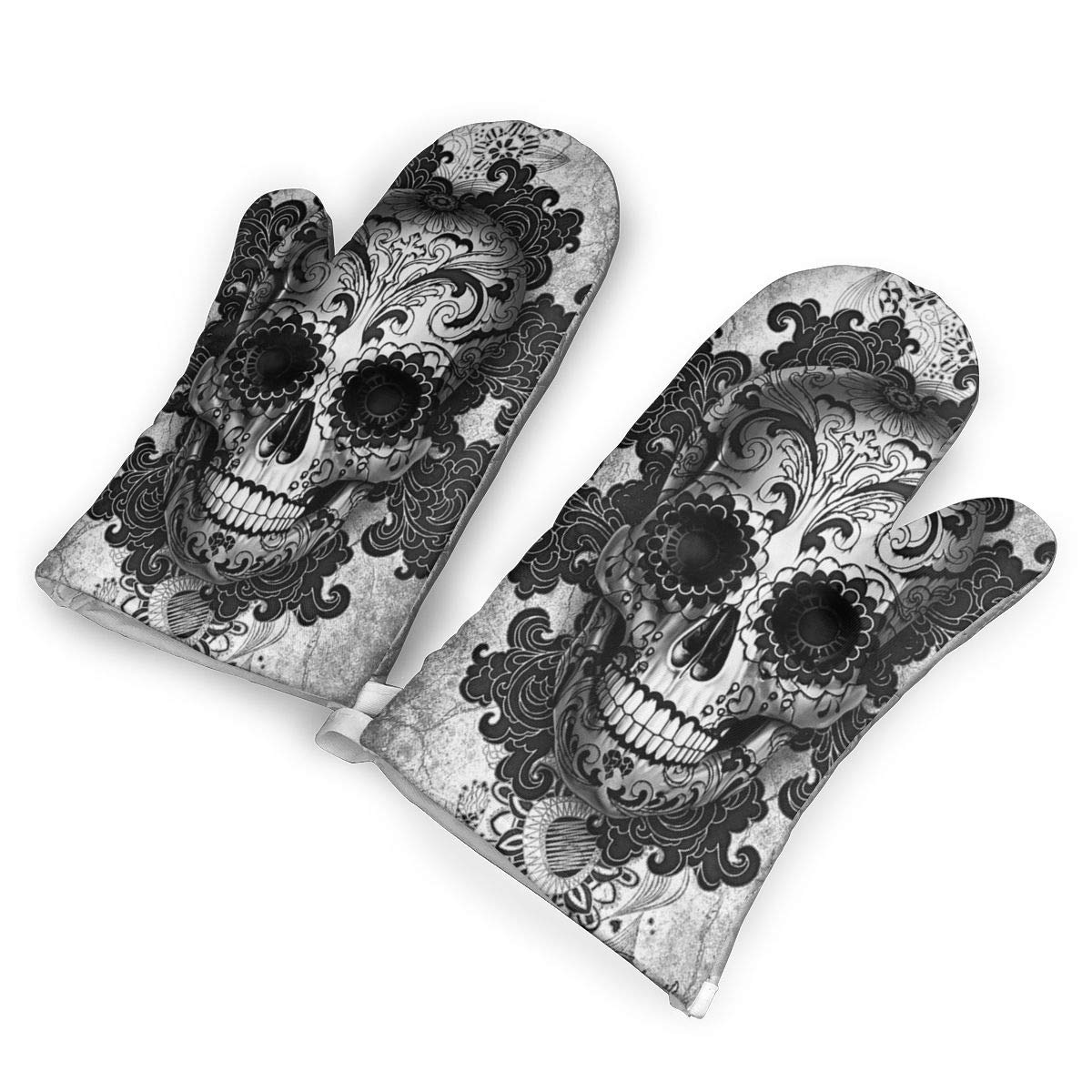 TMVFPYR Oven Mitts,Sugar Skull Black Non-Slip Silicone Oven Mitts, Extra Long Kitchen Mitts, Heat Resistant to 500Fahrenheit Degrees Kitchen Oven Gloves