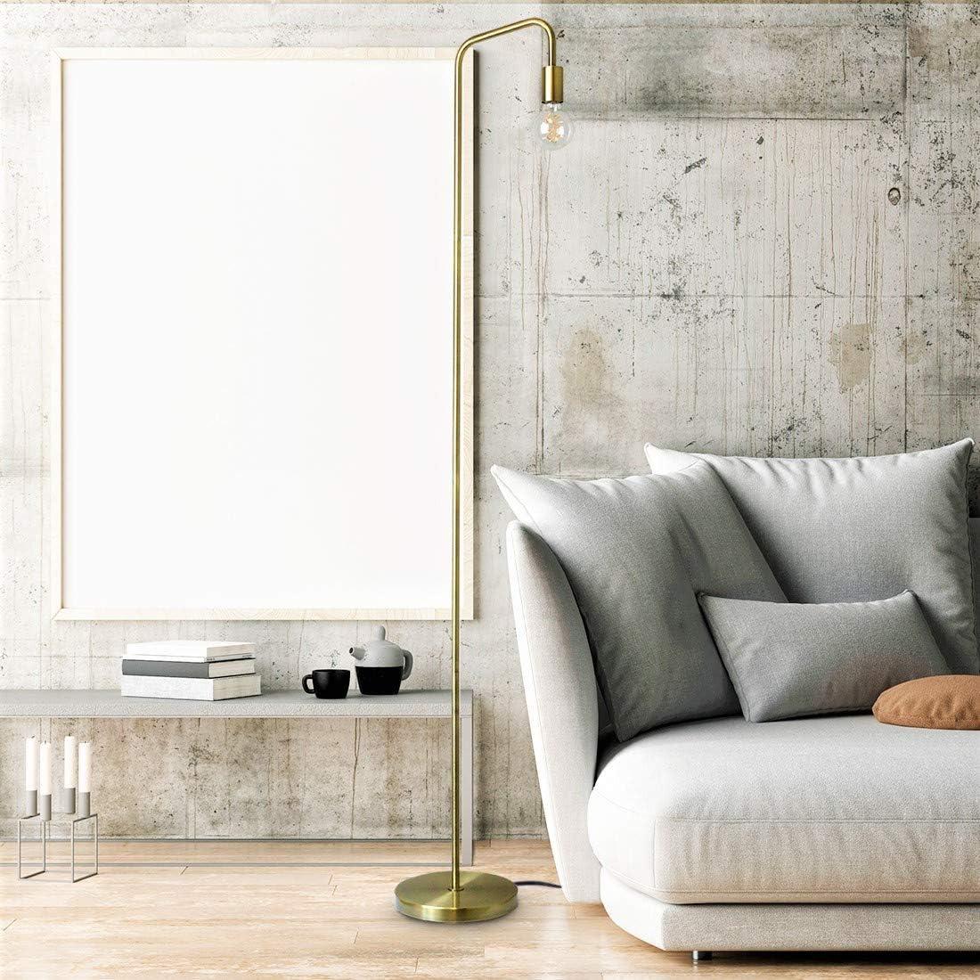 E26 Socket 100/% Metal Lamp Minimalist Design for Decorative Lighting O/'Bright Industrial Floor Lamp for Living Room ETL Listed Antique Brass Gold Stand Lamp for Bedroom//Office//Dorm