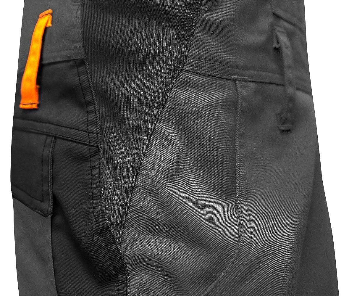 Arbeits-Latzhose f/ür M/änner mit Kniepolstertaschen Berlin Kombi-Hose Blaumann Kermen Arbeitshosen Made in EU Grau Schwarz