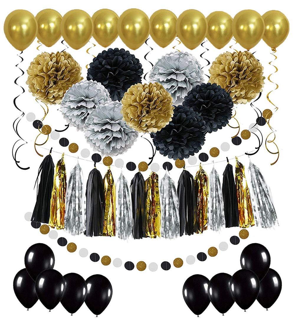 Black and Gold Party Decorations - Masquerade and Birthday Party Decorations with DIY Paper Pom Poms Flowers, Tassel Garland, Balloons, Hanging Swirl, Circle Paper Garland - 58Pcs