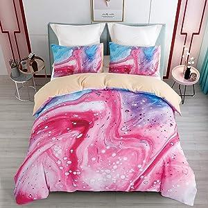 KINBEDY Marble Watercolor Kids Duvet Cover Set, Colorful Teen Girls Bedding Sets Queen Size Pink 3 Pcs Ultra Soft Set.