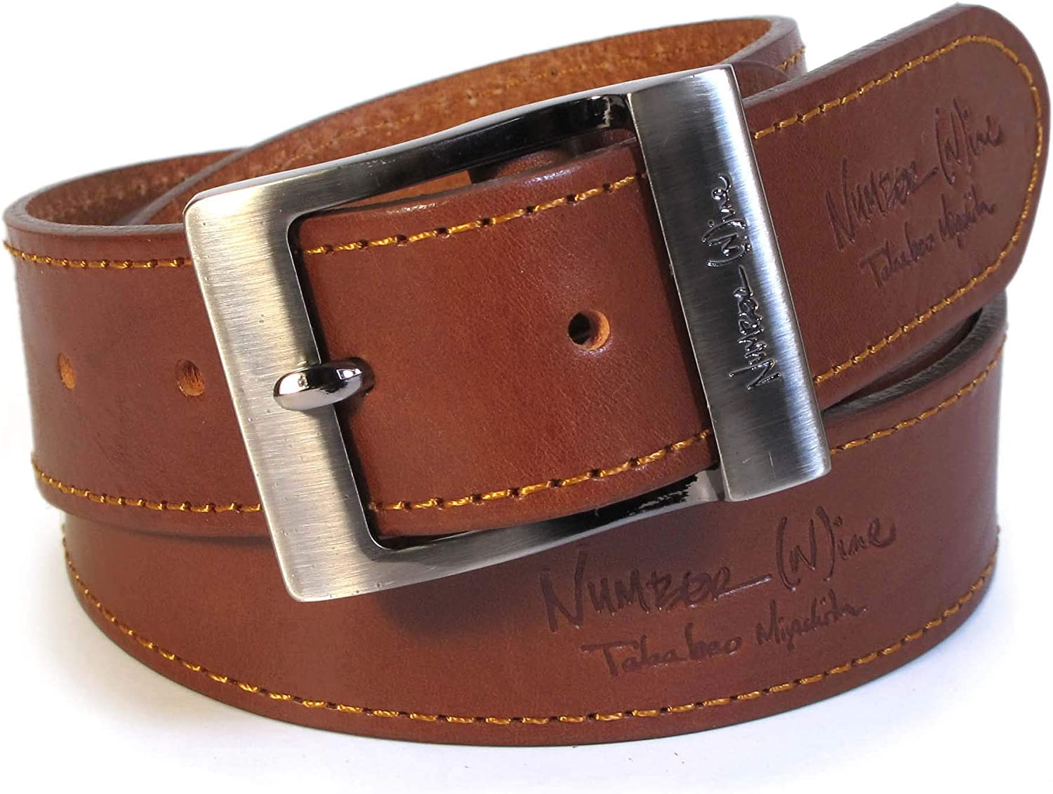 CM8 Mens Real Genuine Leather Tan Brown Belt 1.5 Wide S-XL Thick Casual Jeans
