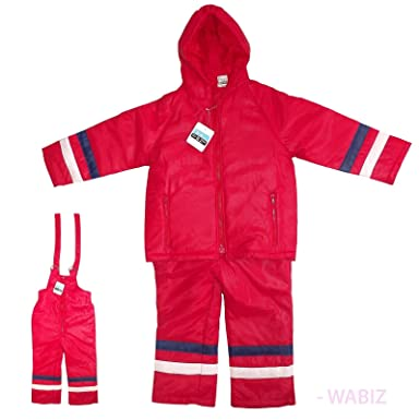 c0165f7357d2 Kids Padded Puddle All-In-One Waterproof Red Suit Snowsuit Trousers ...