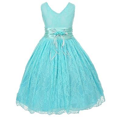 5929187d9a09 Amazon.com  Shanil Big Girls Aqua Blue Flower Embellished Waistband ...