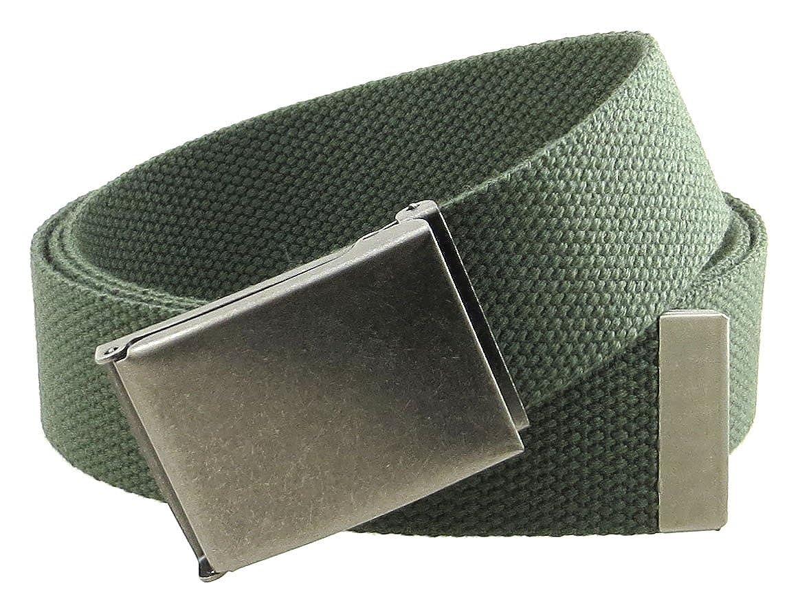 Canvas Web Belt Flip-Top Antique Silver Buckle//Tip Solid Color 50 Long 1.5 Wide