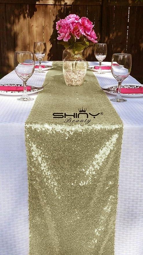 Shinybeauty - Elegante tapete o camino de mesa de lentejuelas de ...