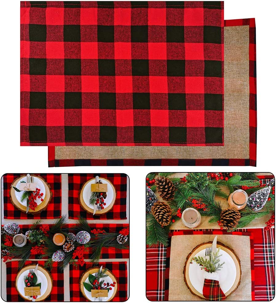 "4 Set Red and Black Placemats Buffalo Check Plaid Table Placemats Double Sided Cotton and Burlap Place Mats Washable for Holiday Christmas Thanksgiving Kitchen Table Setting Decorations 20"" L x 14"" W"