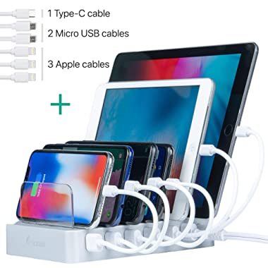 Charging Station for Multiple Devices - 6-Port USB Dock & Organizer for Smartphones & Tablets with Quick Charge for USB-C Powered Gadgets (Cables Included)