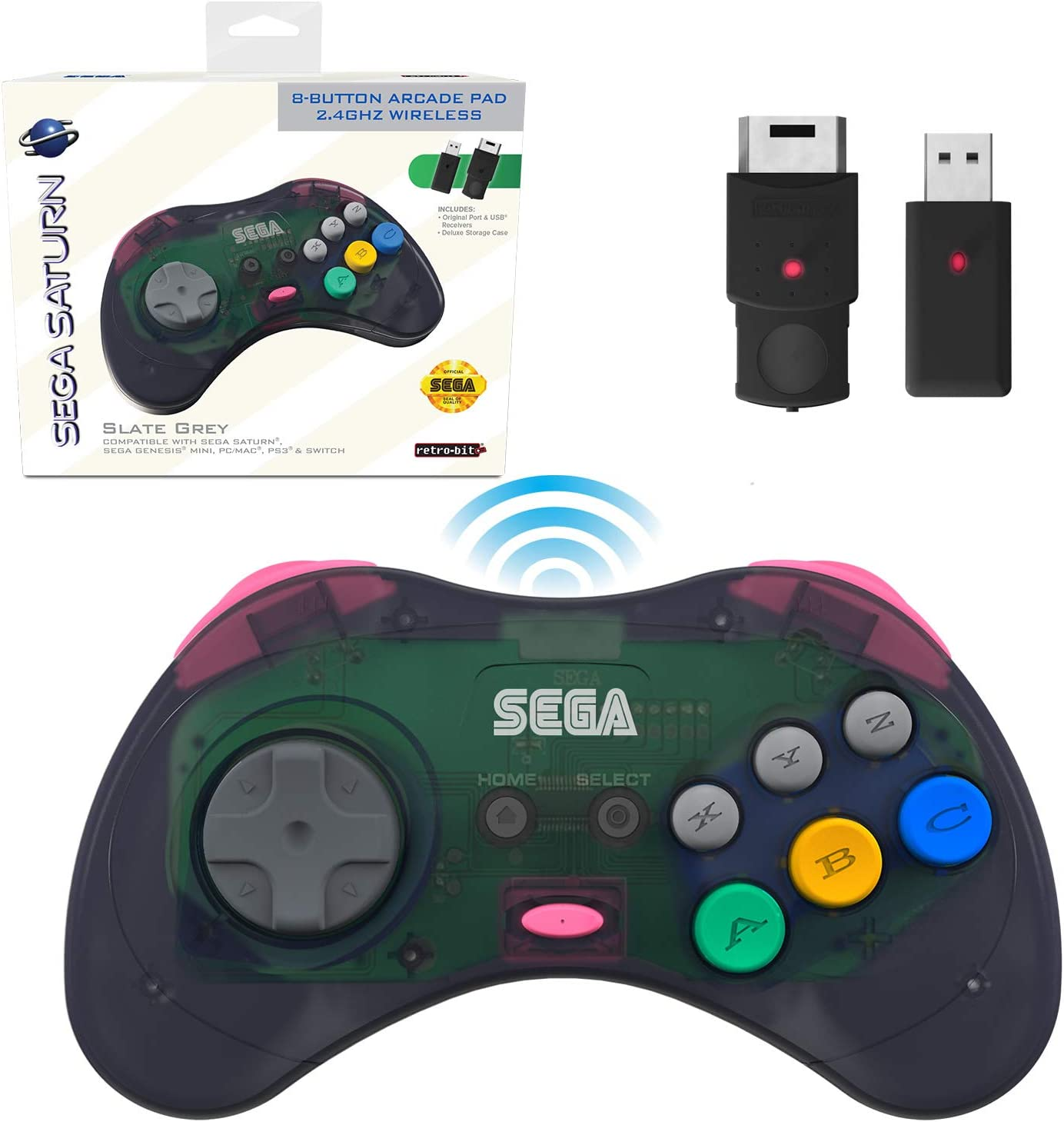 Retro-Bit Official Sega Saturn 2.4 GHz Wireless Controller 8-Button Arcade Pad for Sega Saturn, Sega Genesis Mini, Nintendo Switch, PS3, PC, Mac - Includes 2 Receivers & Storage Case - Slate Grey