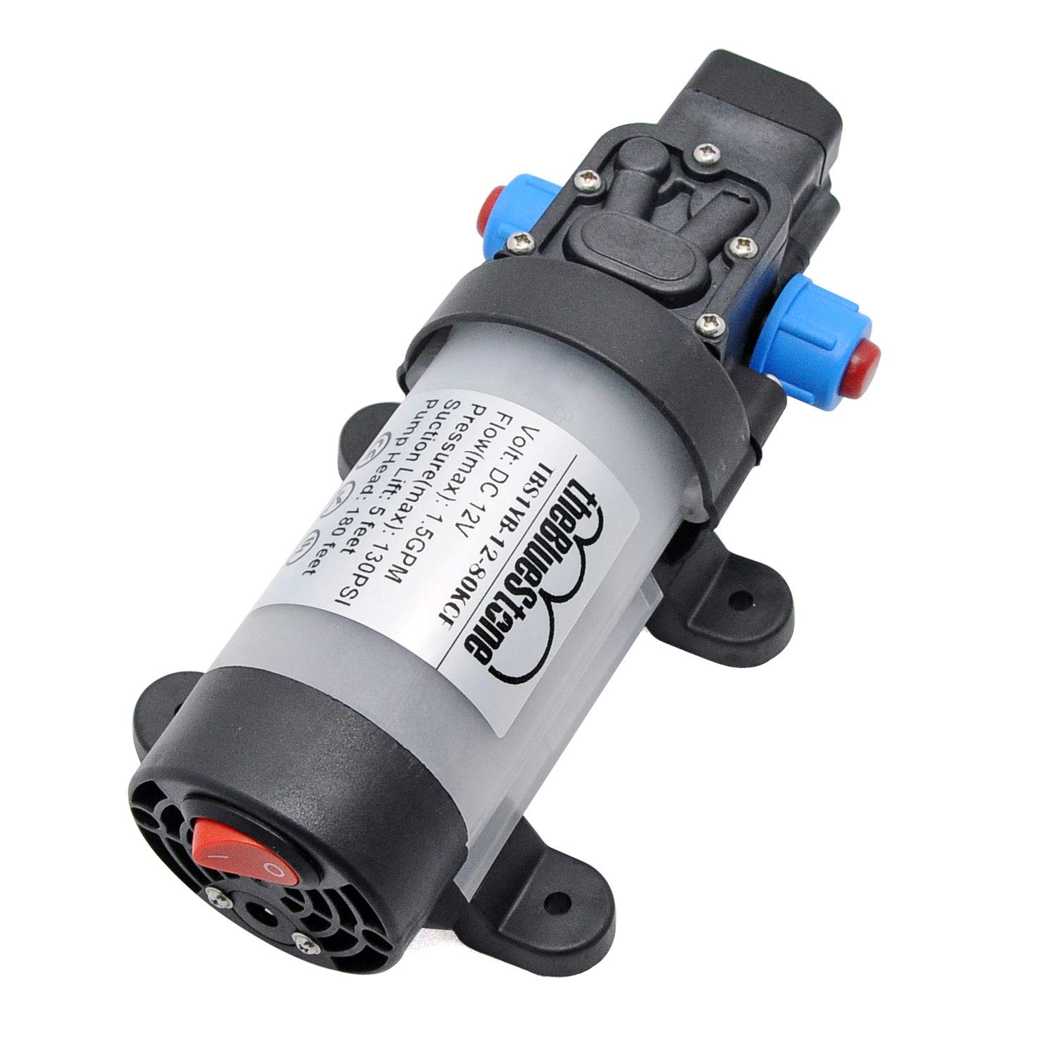 DC12V 115PSI Self-priming Bypass Diaphragm Water Pump 1.3 GPM for Agricultural Irrigation Sprayer Sprinkler System Fluid Transfer Pressure Cleaning