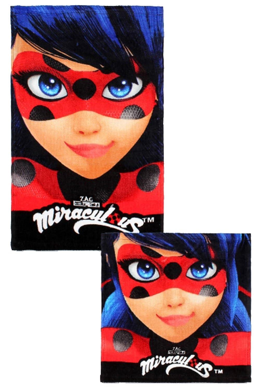 ZAG Miraculous Ladybug - Set 2 Asciugamani per Bambini in Puro Cotone (Grande e Piccolo) Setino